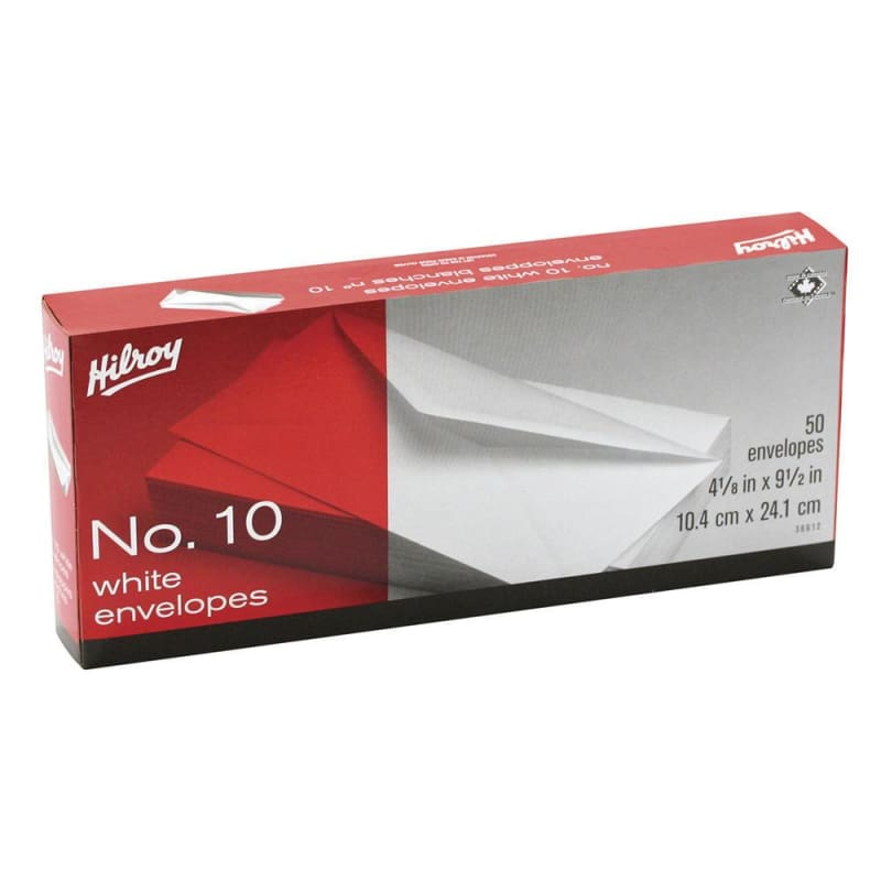 "Hilroy® Standard #10 High Count Boxed White Envelope, 4-1/8""x9-1/2"", 50-Count 268060"