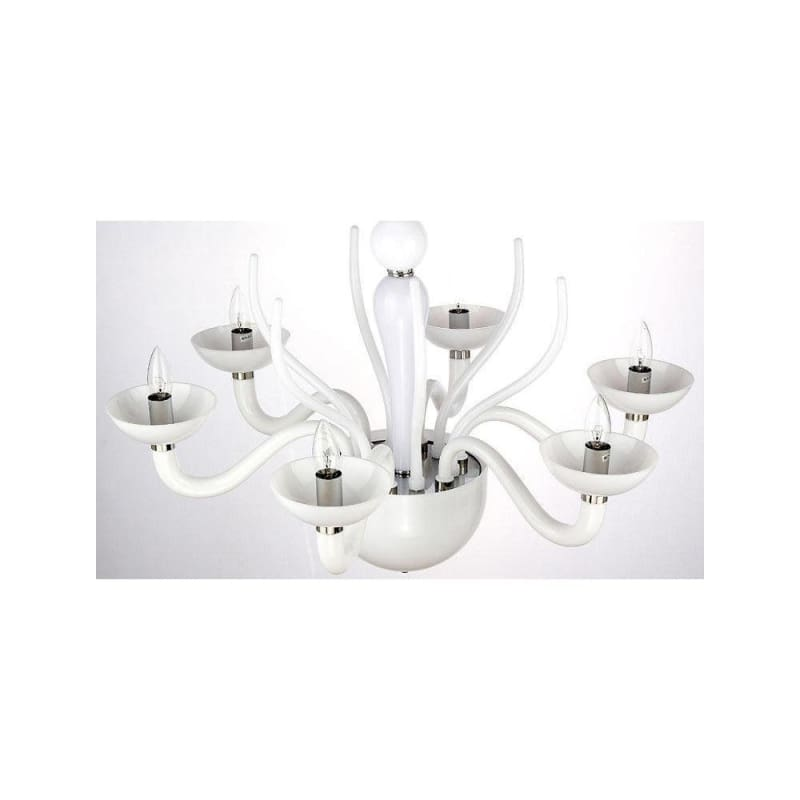 White Acrylic 6 Lights Chandelier