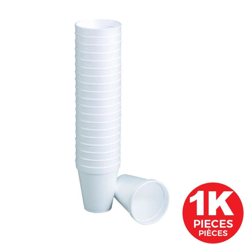 Disposable White Polystyrene foam plastic Coffee Cups, 8 oz, 25 Cups/Pack