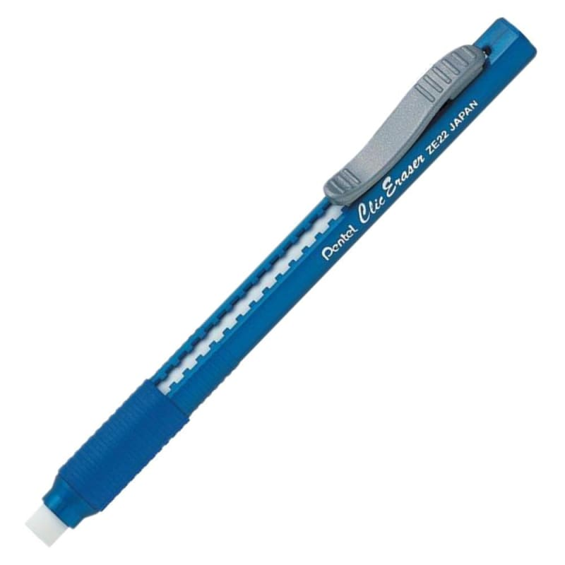 Pentel Clic Pencil-Style Grip Eraser - Blue Barrel (ZE22) 706929