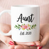 Aunt est 2020 or 2021 Coffee Mug, New Aunt Pregnancy Announcement Gift (M539)
