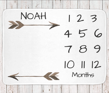Milestone monthly baby blanket personalized, boys or unisex arrow print (BB101)