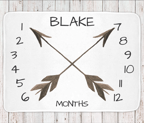 Personalized milestone monthly baby blanket, boys or unisex arrow print (BB102)