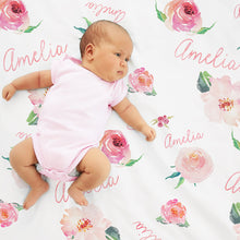Personalized Baby Girl Name Blanket, Floral watercolor print coral (BB115)