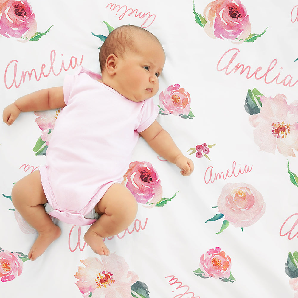 Personalized Baby Girl Name Blanket, Floral watercolor ...