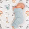 Personalized Safari Animals Baby Name Blanket (BB118)