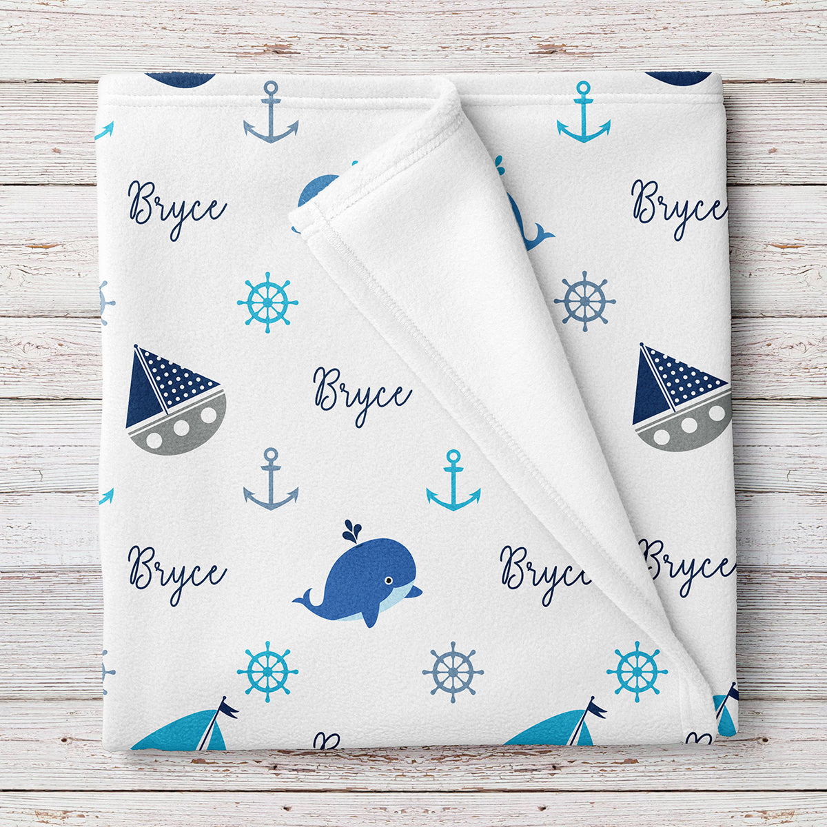 Nautical Fleece Personalized Baby Boy Blanket (BB250)