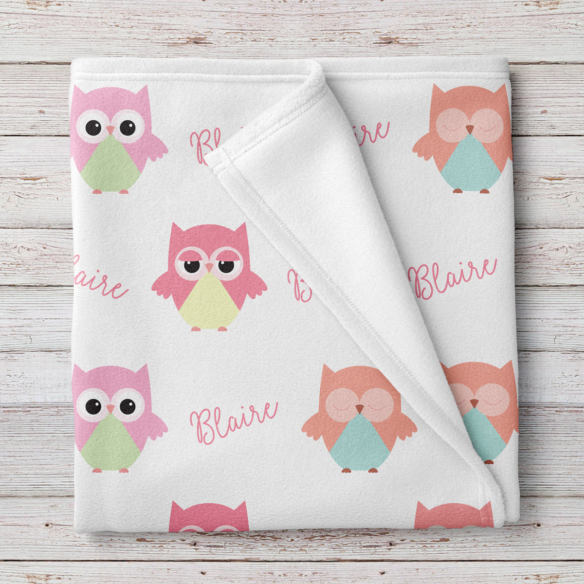Owl Personalized Fleece Baby Girl Blanket (BB256)