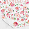Personalized kids blanket, Floral watercolor print coral (KB105)