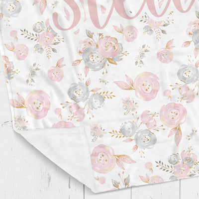 Personalized kids blanket, Pink and gray floral (KB106)