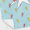 Personalized kids blanket, Light blue super hero (KB120-LIGHT)