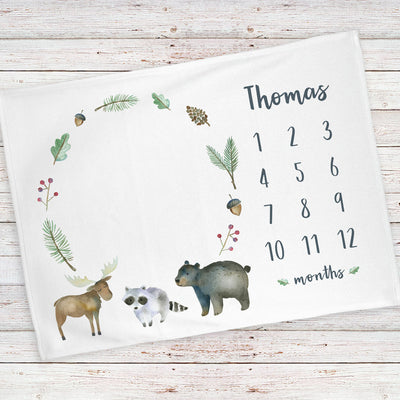 Monthly milestone baby blanket personalized, Woodland animals wreath (BB119)