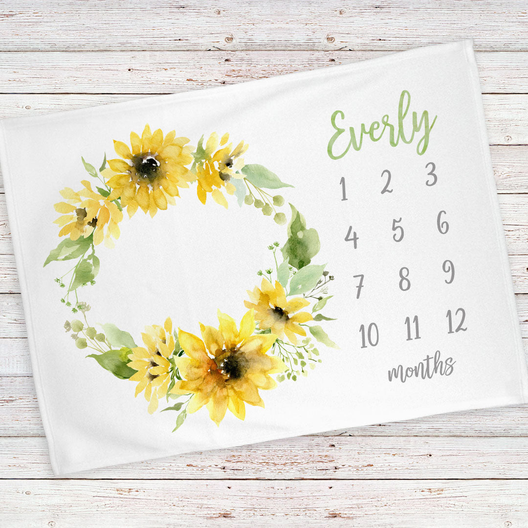 Monthly milestone baby blanket personalized, Sunflowers (BB125)