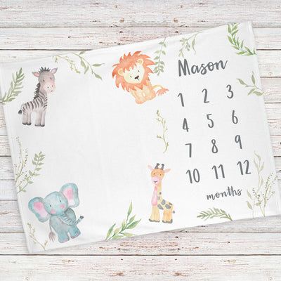 Monthly milestone baby blanket personalized, Safari animals (BB129)