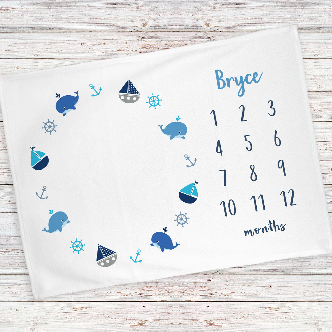 Monthly Milestone Baby Blanket Personalized Nautical Blue Bb133 Stork Wares