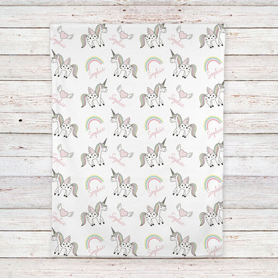 Unicorn baby blanket personalized, Unicorn nursery decor (BB225)