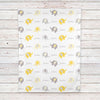 Personalized Elephant Fleece Baby Blanket, Yellow and Gray Unisex (BB246)