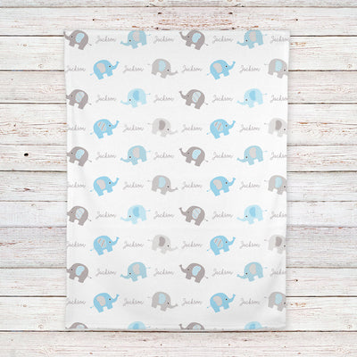 Personalized Elephant Fleece Baby Blanket, Blue and Gray boys print (BB253)