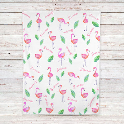 Pink Flamingo Personalized Baby Blanket (BB314)