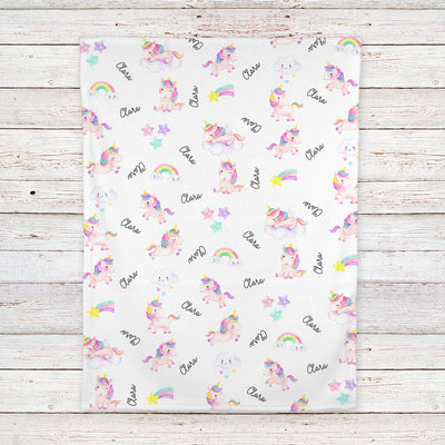 Unicorns and Rainbows Personalized Baby Blanket (BB316)