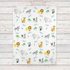 Jungle Animals Safari Personalized Baby Blanket (BB325)