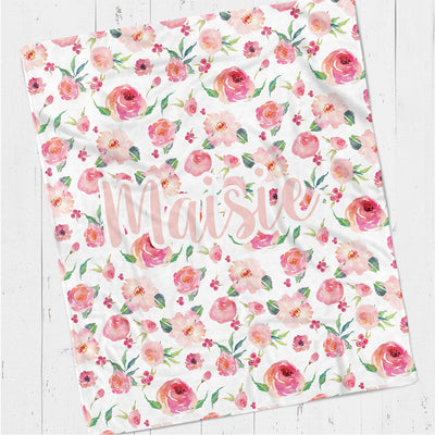 Personalized kids blanket, Floral watercorlor print coral (KB105)