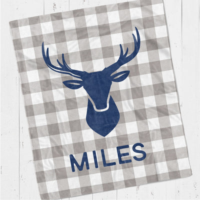 Personalized kids blanket, Deer head blue (KB110)