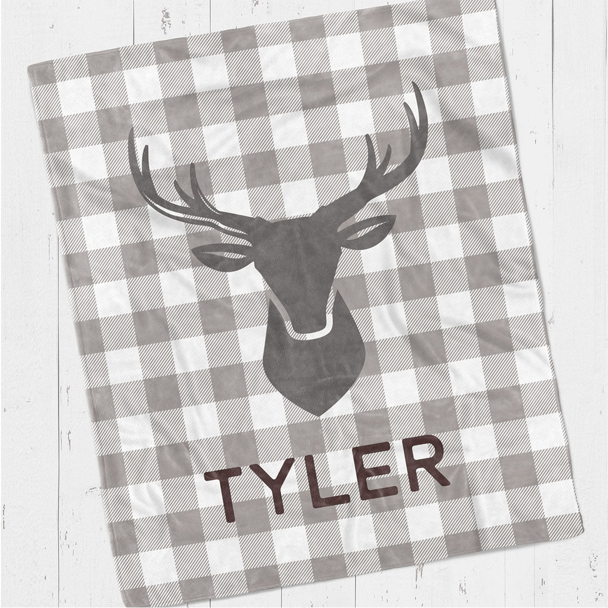 Personalized kids blanket, Deer head gray (KB111)