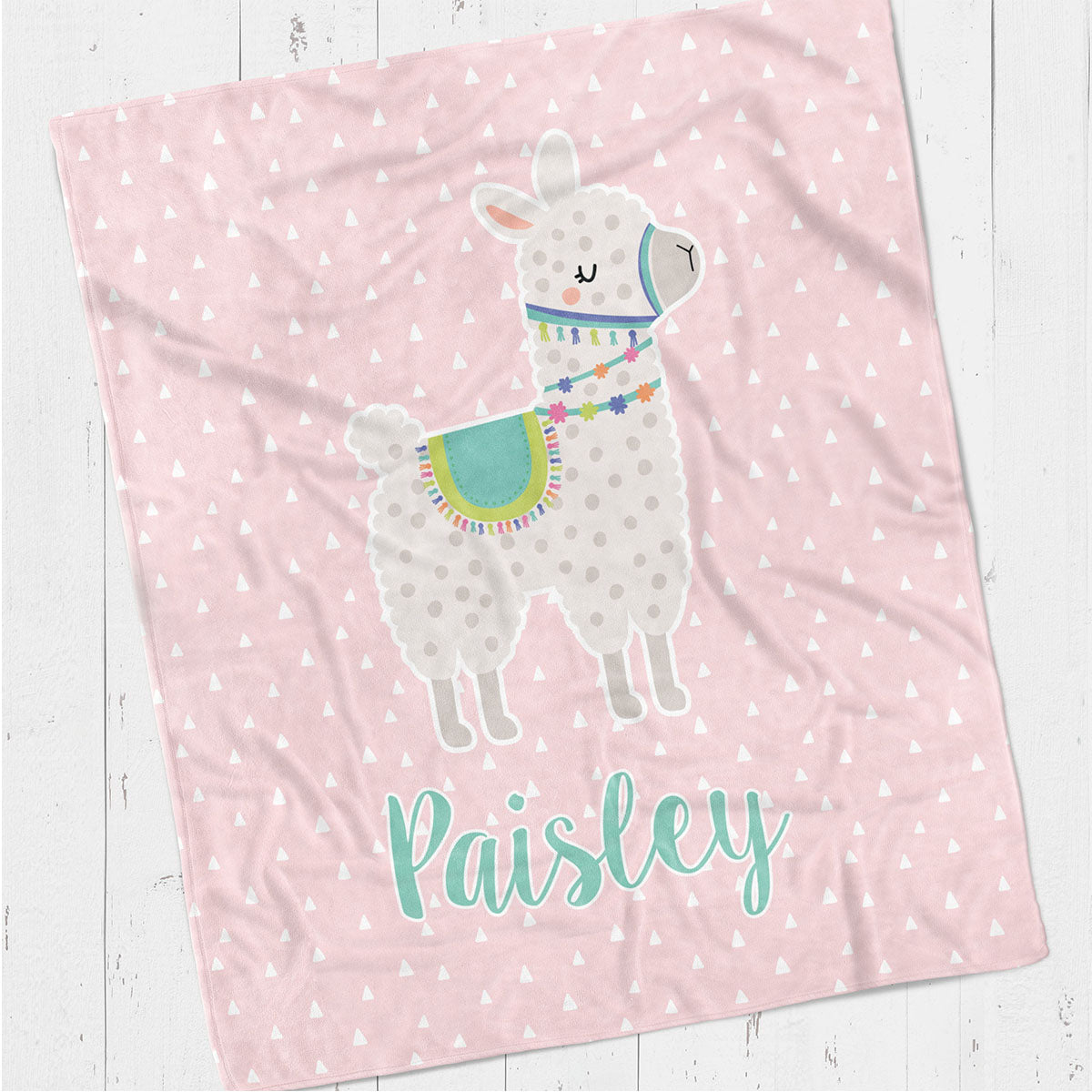 Personalized kids blanket, Pink llama (KB115-PINK)