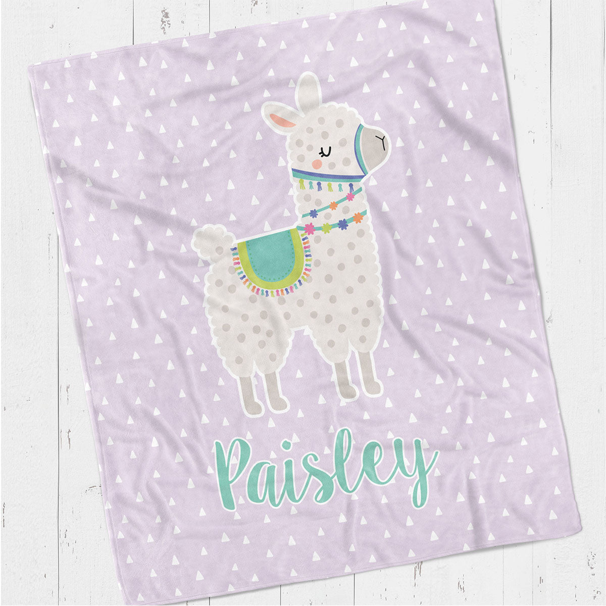 Personalized kids blanket, Purple llama (KB115-PURP)