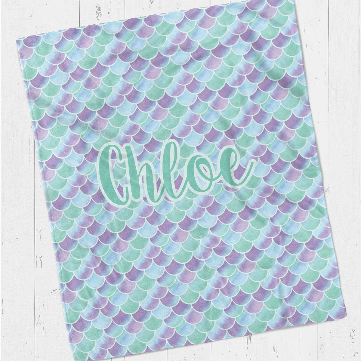 Personalized kids blanket, Mermaid scales (KB116)