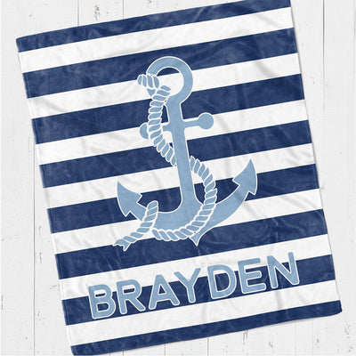 Personalized kids blanket, Nautical anchor (KB118)