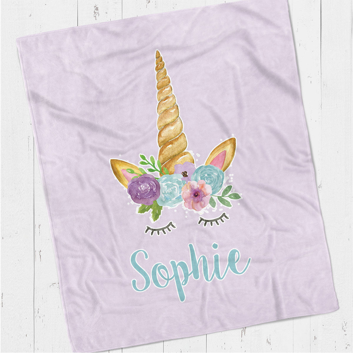 Personalized kids blanket, Purple unicorn (KB121-PURP)