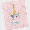 Personalized kids blanket, Pink unicorn (KB121-PINK)