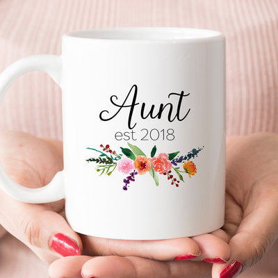 Aunt est 2018 or 2019 Coffee Mug, New Aunt Pregnancy Announcement Gift (M451)