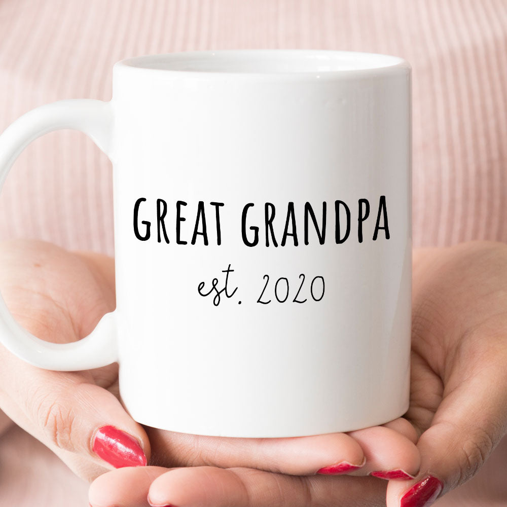 Great Grandpa est 2020 or 2021 mug, new great grandpa gift (M1716)