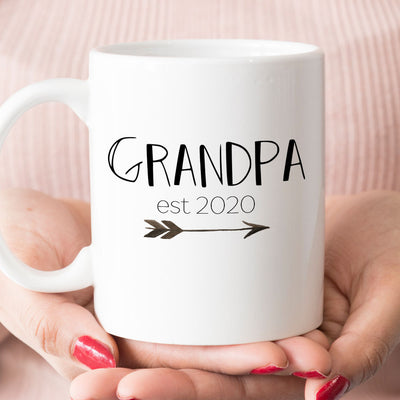 Grandpa est 2020 or 2021 mug, new grandpa pregnancy announcement gift (M384)