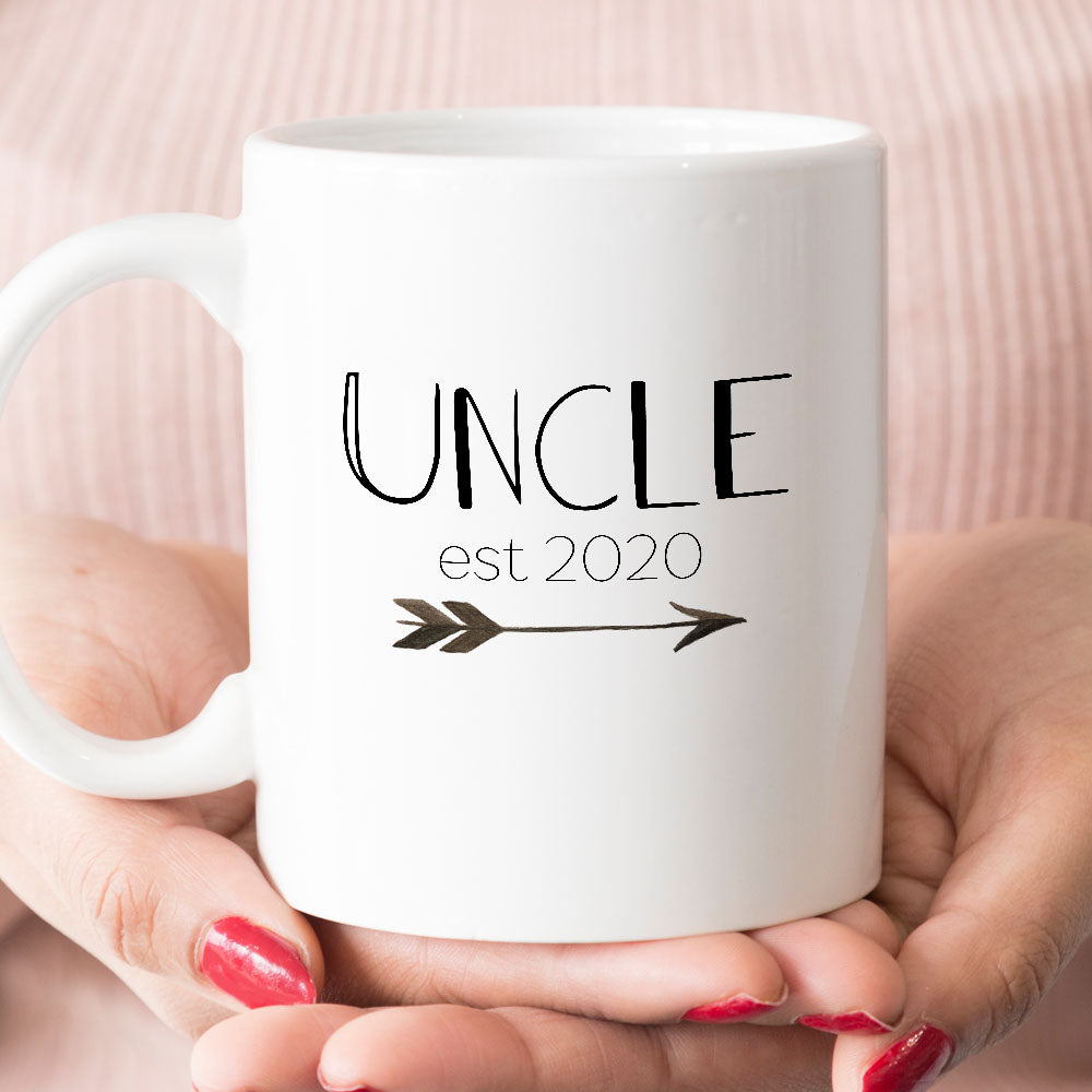 Uncle est 2020 or 2019 Coffee Mug, New Uncle Pregnancy Announcement Gift (M411)
