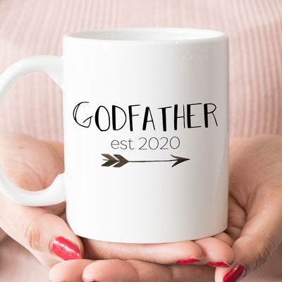 Godfather est 2020 or 2019 Coffee Mug, New Godfather Pregnancy Announcement Gift (M463)