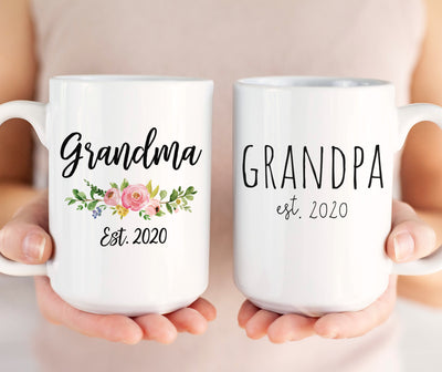 Grandparents mugs set of 2, Grandma and Grandpa 2020 or 2021, pregnancy reveal mugs (M1713 M1710- 2D)