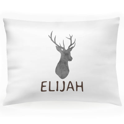 "Personalized Deer Woodland Kids Name Pillow Case 30"" x 20"" (P103)"