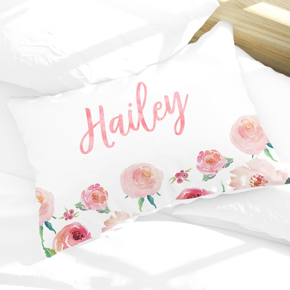 Personalized Floral Girls Pillow Case, Coral Watercolor 30