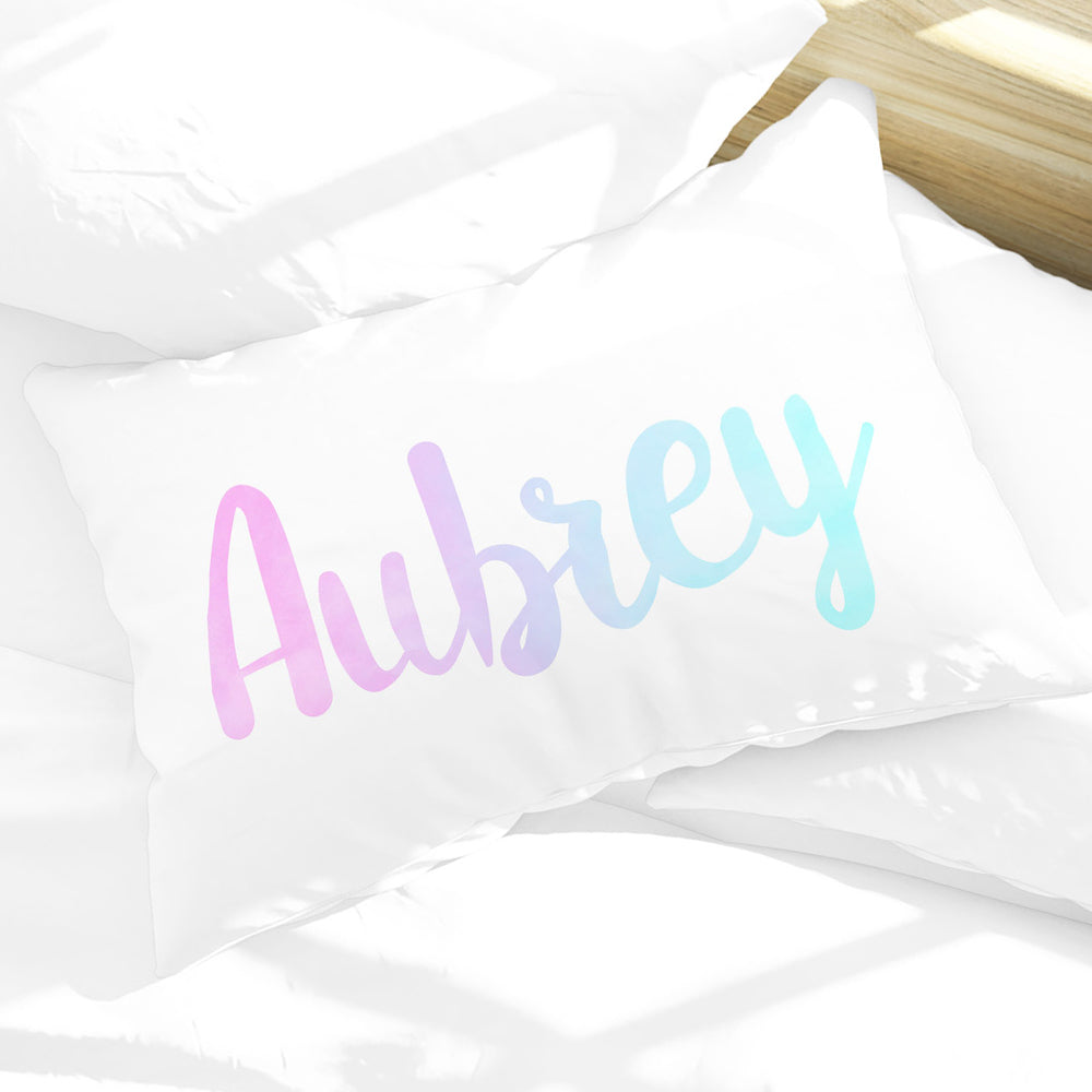 Personalized Girls Name Pillow Case, Pink Purple and Blue Watercolor 30
