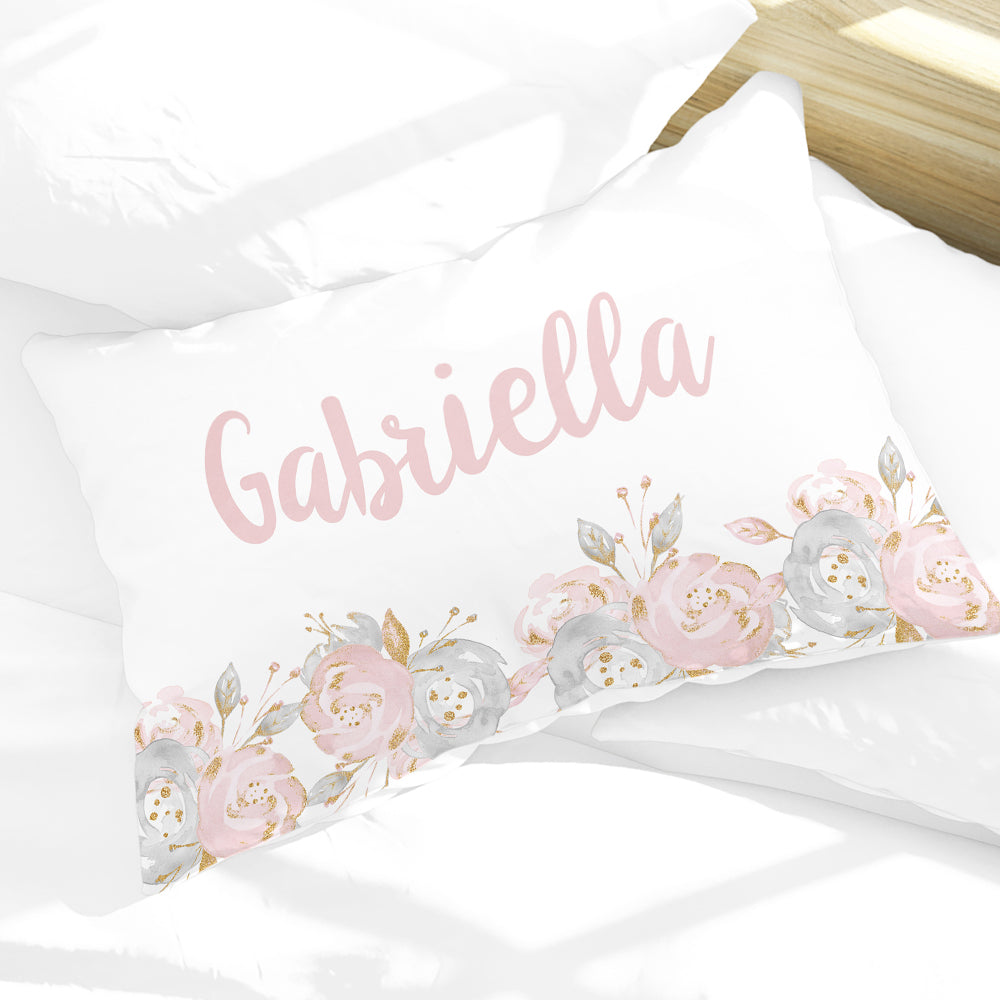 Personalized Shabby Chic Floral Girls Pillowcase, Pink and Gray 30