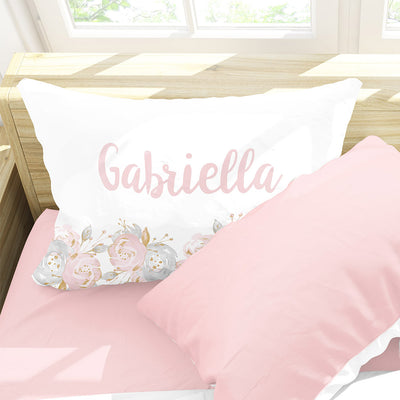 "Personalized Shabby Chic Floral Girls Pillowcase, Pink and Gray 30"" x 20"" (P112)"