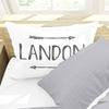 "Personalized Boho Arrow Kids Name Pillow Case, Charcoal Gray 30"" x 20"" (P115-C)"