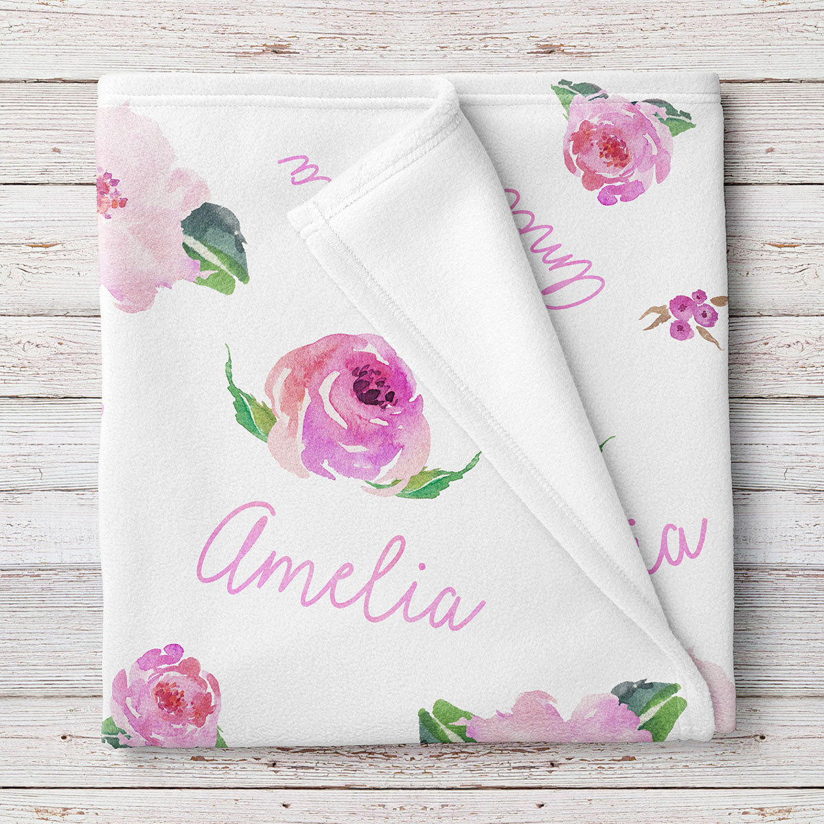 Personalized Baby Girl Name Blanket, Pink floral watercolor print (BB116)