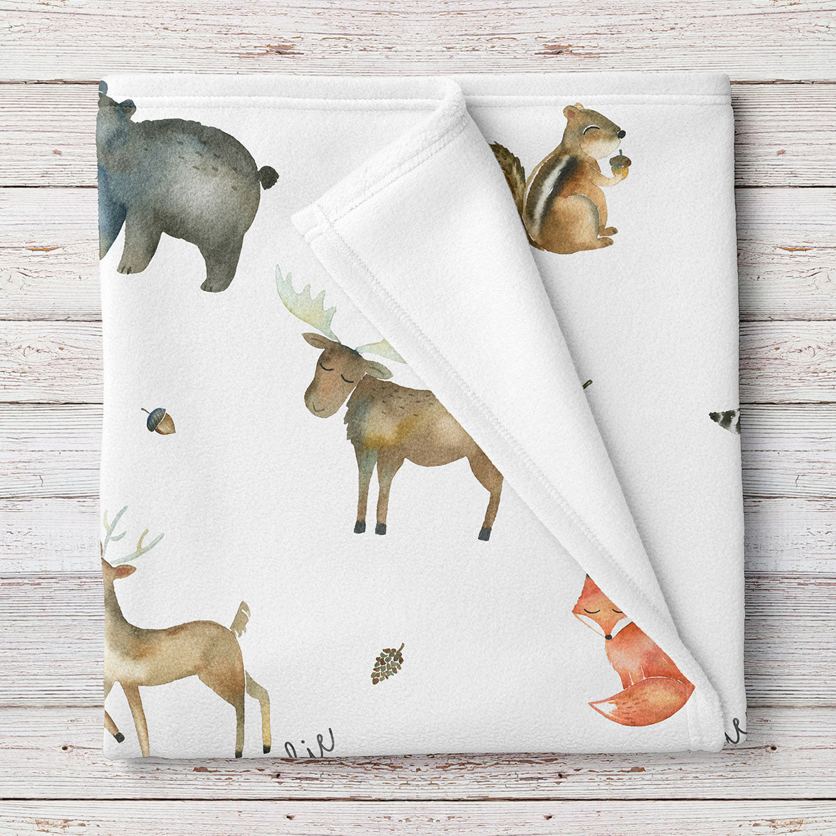 Woodland Animals Personalized Baby Blanket (BB222)
