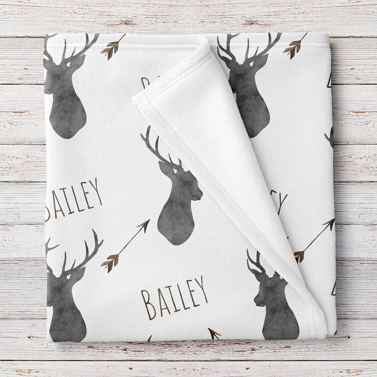 Deer baby blanket, Woodland blanket, Personalized baby boy blanket, Fleece (BB231)