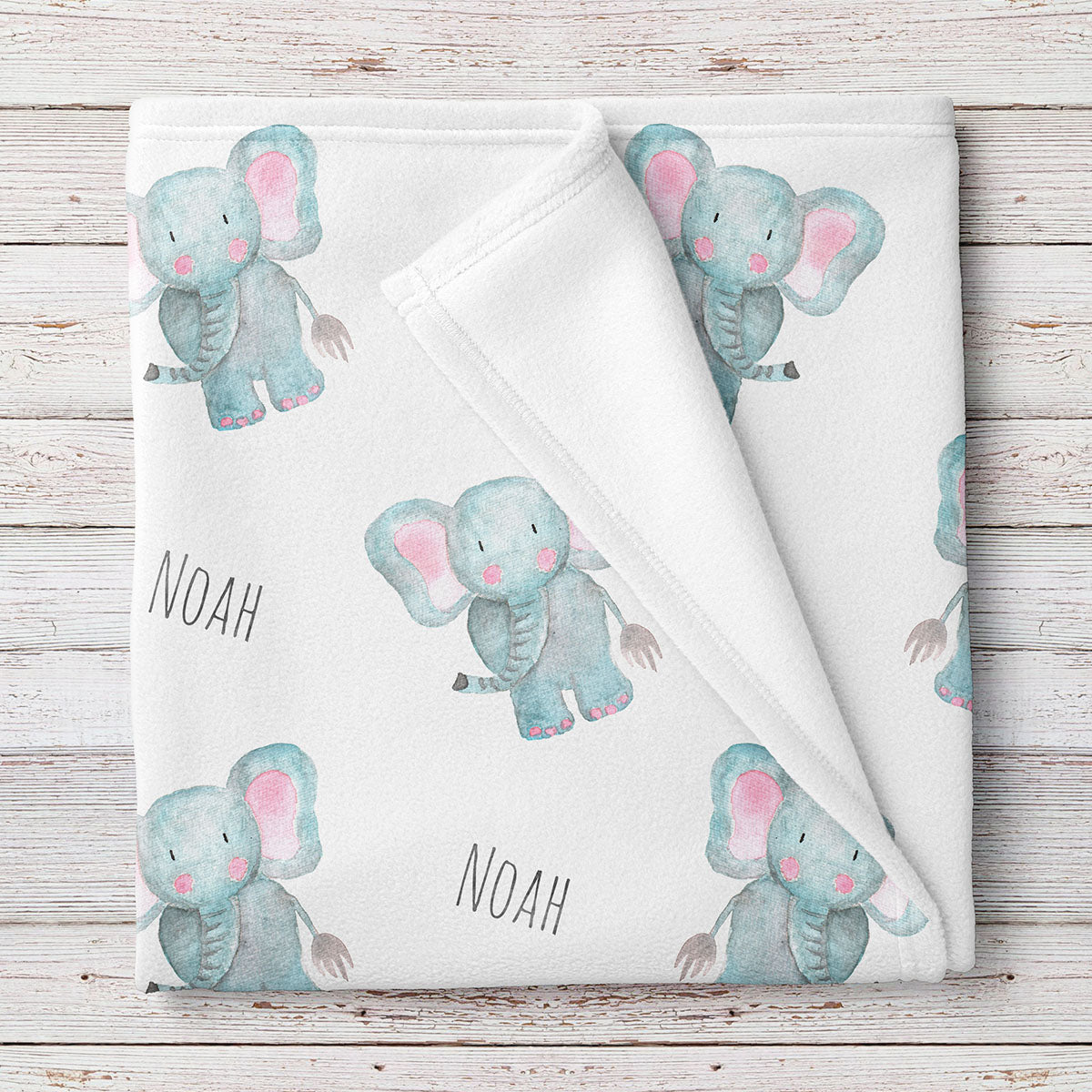 Personalized Elephant Baby Name Blanket (BB238)